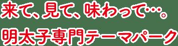来て、見て、味わって・・・。日本初・日本唯一の明太子専門テーマパーク